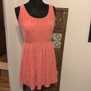 Mossimo pink lacy skater dress, tank dress sz S/P